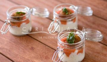 Finger Food – Spuma di mozzarella, coulis di pomodorino, polpetta di melanzana e basilico fritto